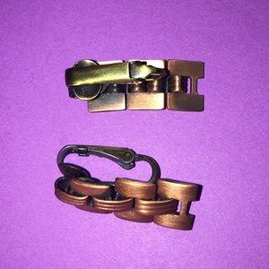 Vintage mid century copper link earrings clip on